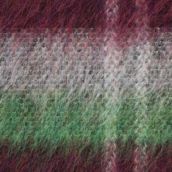 ポリエステル&ウール混×チェック(オフホワイト、グリーン&ガーネット)×シャギーニット_パネル イメージ1