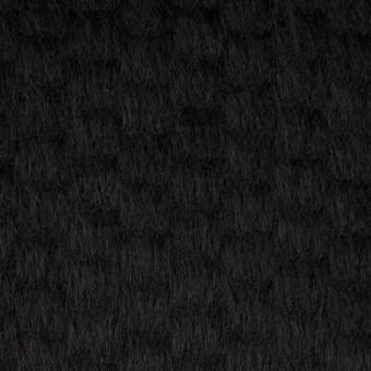 ウール&ナイロン×無地(ブラック)×シャギー_全2色