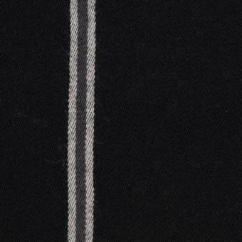 ウール&コットン×ストライプ(グレー&ブラック)×サージ