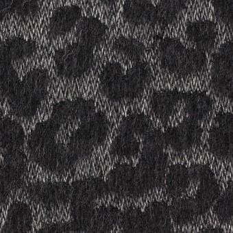 ウール&ポリエステル×レオパード(シルバー&チャコール)×ジャガード
