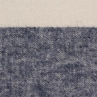 コットン×ボーダー(アイボリー&ネイビー)×ヘリンボーン