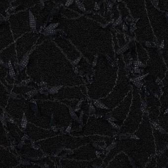 アセテート&シルク混×アイビー(ブラック)×ニット刺繍