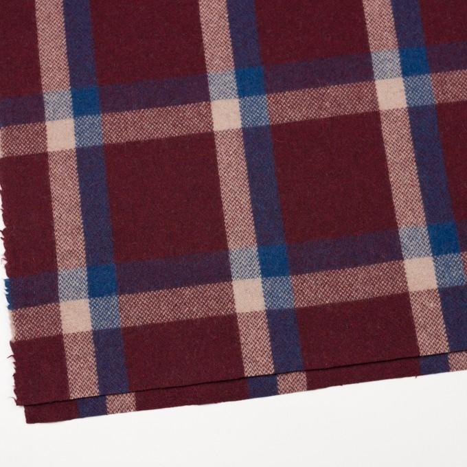 ウール×チェック(エンジ、アイボリー&マリンブルー)×ツイード_全2色 イメージ2