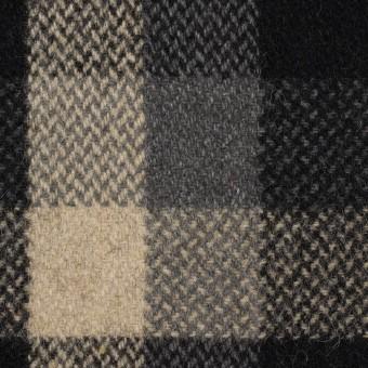 ウール×チェック(ブラック、キナリ&グレー)×ツイード_全2色