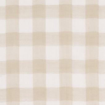 コットン×チェック(ベージュ)×Wガーゼ_全5色