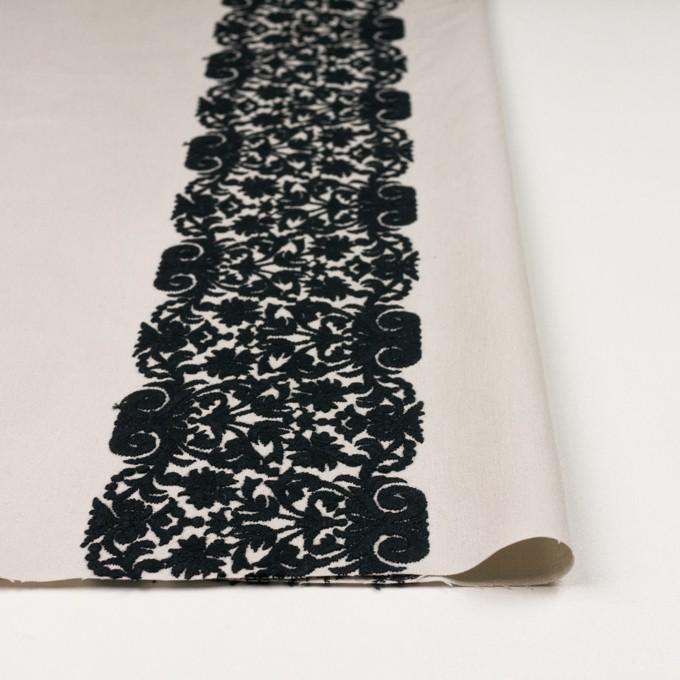 コットン×幾何学模様(アイボリー&ブラック)×かわり織刺繍_全3色 イメージ3