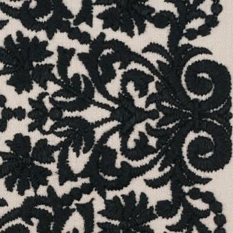 コットン×幾何学模様(アイボリー&ブラック)×かわり織刺繍_全3色 サムネイル1
