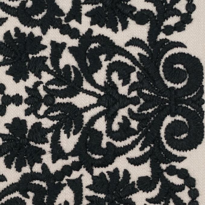 コットン×幾何学模様(アイボリー&ブラック)×かわり織刺繍_全3色 イメージ1