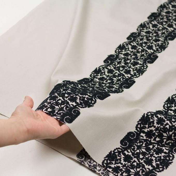コットン×幾何学模様(アイボリー&ブラック)×かわり織刺繍_全3色 イメージ5
