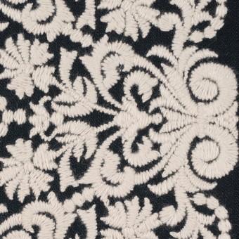 コットン×幾何学模様(ブラック&クリーム)×かわり織刺繍_全3色
