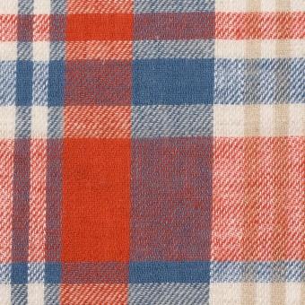 リネン&コットン×チェック(スカーレット&チョークブルー)×薄サージ_全3色