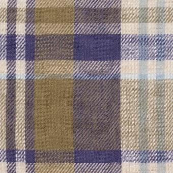 リネン&コットン×チェック(カーキ&バイオレット)×薄サージ_全3色