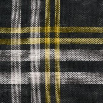 コットン×チェック(ブラック、イエロー&ホワイト)×Wガーゼ