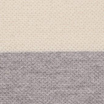 コットン×ボーダー(グレー&キナリ)×かわり編み