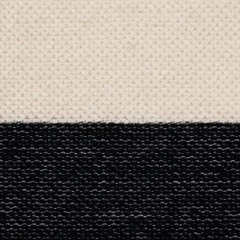 コットン×ボーダー(ブラック&キナリ)×かわり編み