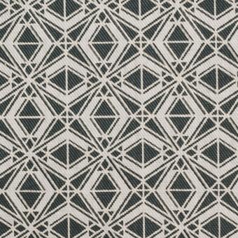 ポリエステル&コットン×幾何学模様(チャコール)×サージ_全2色