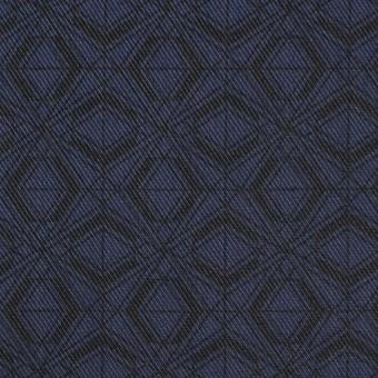 ポリエステル&コットン×幾何学模様(ネイビー)×サージ_全2色