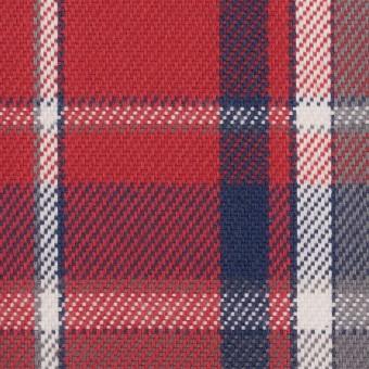 コットン×チェック(レッド、ネイビー&グレー)×斜子織
