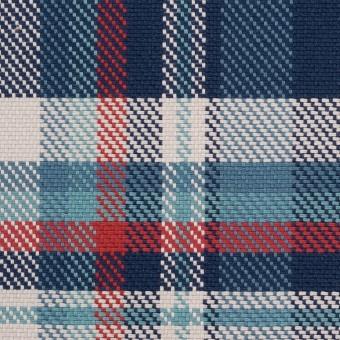 コットン×チェック(ネイビー、ブルーグレー&レッド)×斜子織