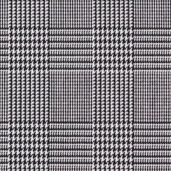 コットン&ポリエステル×チェック(ブラック&ホワイト)×かわり織&ローン(ボンディング)