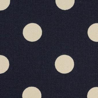 コットン&ポリウレタン×水玉(ダークネイビー&アイボリー)×チノクロス・ストレッチ_全2色