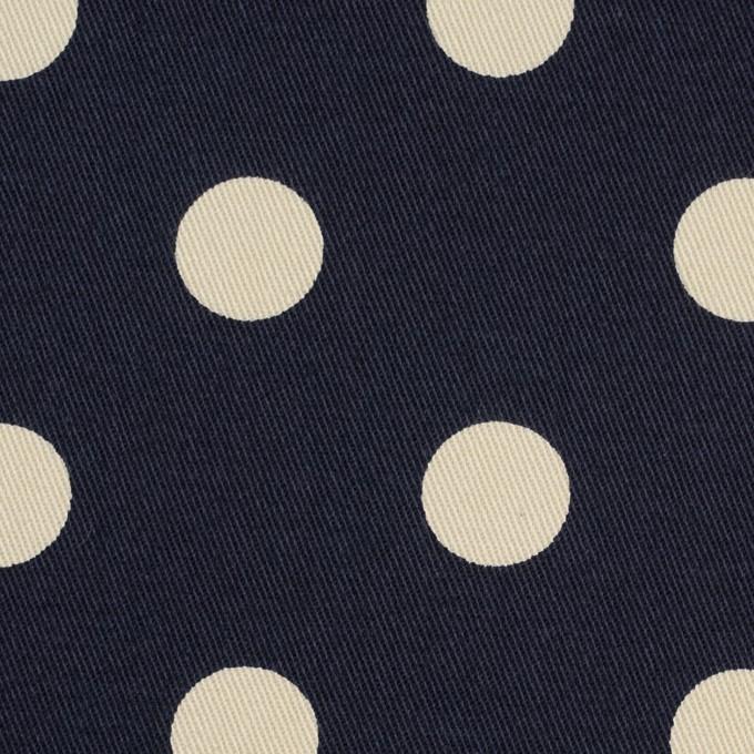 コットン&ポリウレタン×水玉(ダークネイビー&アイボリー)×チノクロス・ストレッチ_全2色 イメージ1