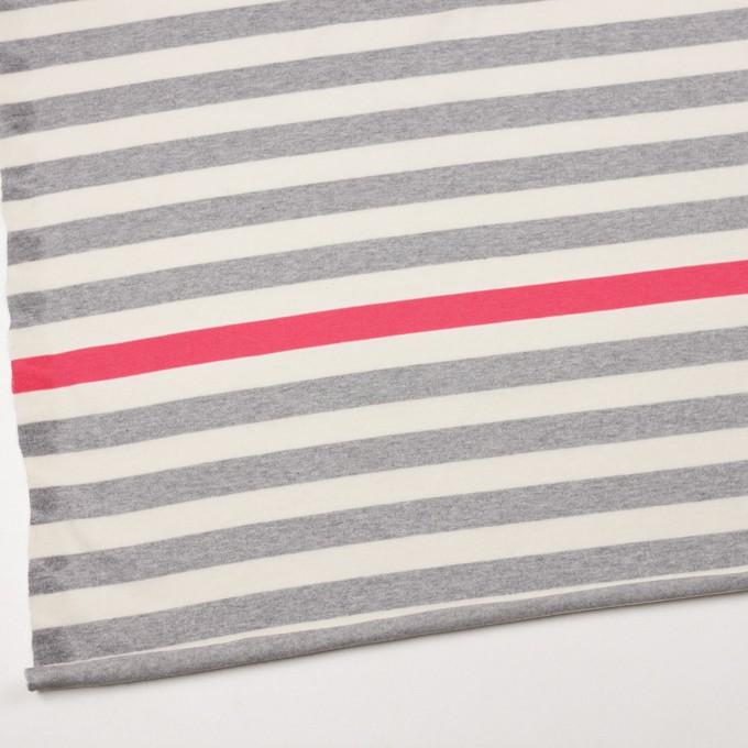 コットン×ボーダー(グレー、キナリ&ショッキングピンク)×天竺ニット_全3色_パネル イメージ2