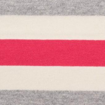 コットン×ボーダー(グレー、キナリ&ショッキングピンク)×天竺ニット_全3色_パネル