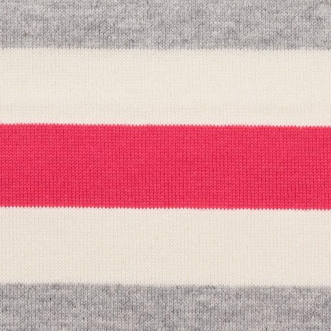 コットン×ボーダー(グレー、キナリ&ショッキングピンク)×天竺ニット_全3色_パネル イメージ1