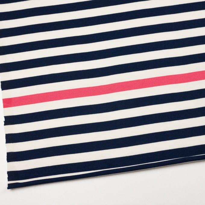 コットン×ボーダー(ネイビー、キナリ&ショッキングピンク)×天竺ニット_全3色_パネル イメージ2