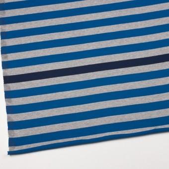 コットン×ボーダー(ブルー、グレー&ネイビー)×天竺ニット_全3色_パネル サムネイル2