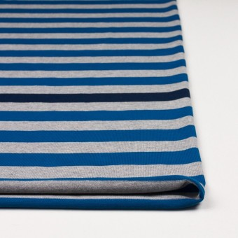 コットン×ボーダー(ブルー、グレー&ネイビー)×天竺ニット_全3色_パネル サムネイル3