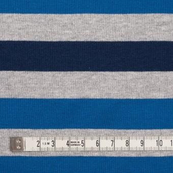 コットン×ボーダー(ブルー、グレー&ネイビー)×天竺ニット_全3色_パネル サムネイル4