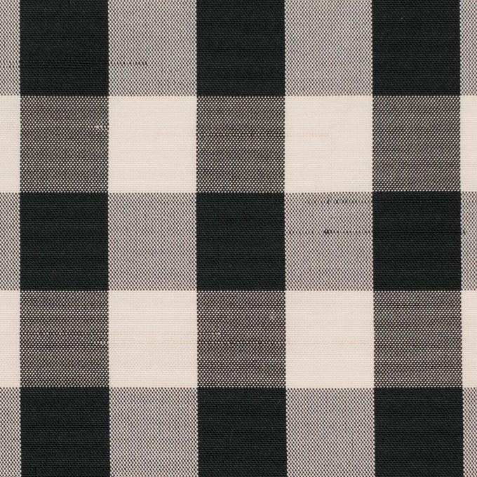 ポリエステル×チェック(キナリ&ブラック)×形状記憶シャンタン イメージ1