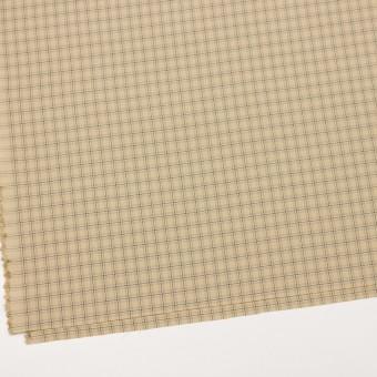 ビスコース&ウール混×チェック(カスタード、ブラウン&スレートグリーン)×ジョーゼット_イタリア製 サムネイル2