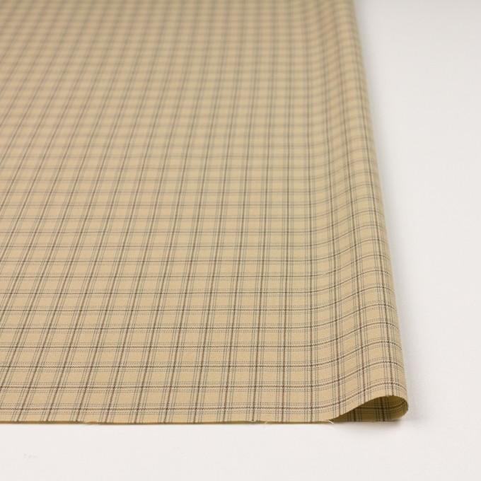 ビスコース&ウール混×チェック(カスタード、ブラウン&スレートグリーン)×ジョーゼット_イタリア製 イメージ3