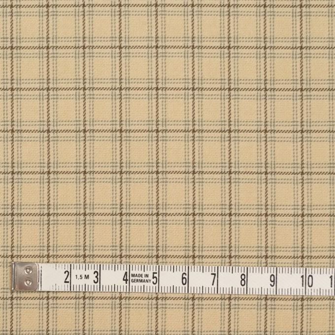 ビスコース&ウール混×チェック(カスタード、ブラウン&スレートグリーン)×ジョーゼット_イタリア製 イメージ4