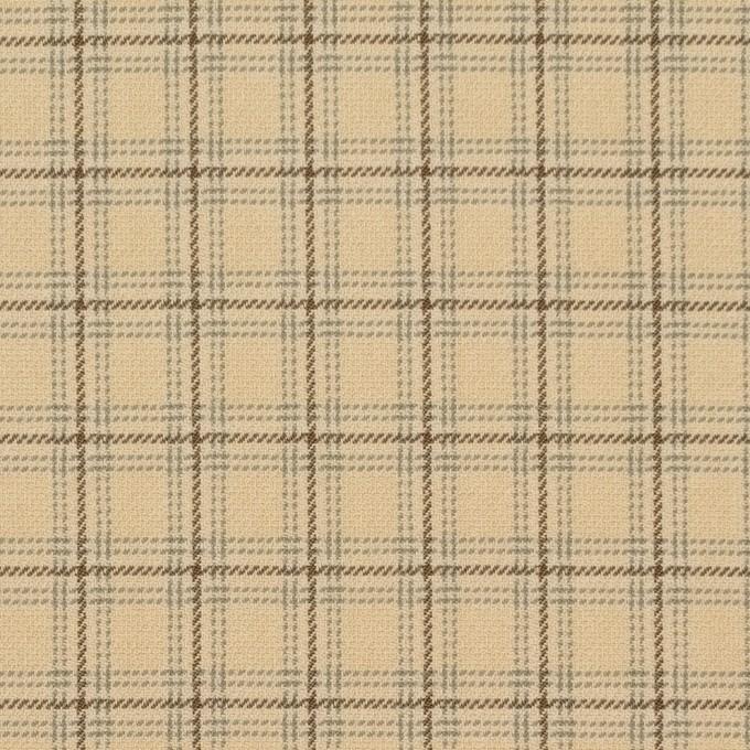 ビスコース&ウール混×チェック(カスタード、ブラウン&スレートグリーン)×ジョーゼット_イタリア製 イメージ1