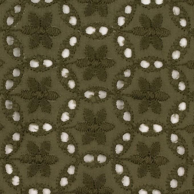 コットン×フラワー(カーキグリーン)×ローン刺繍_全3色 イメージ1