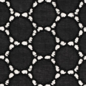 コットン×サークル(ブラック)×ローン刺繍 サムネイル1