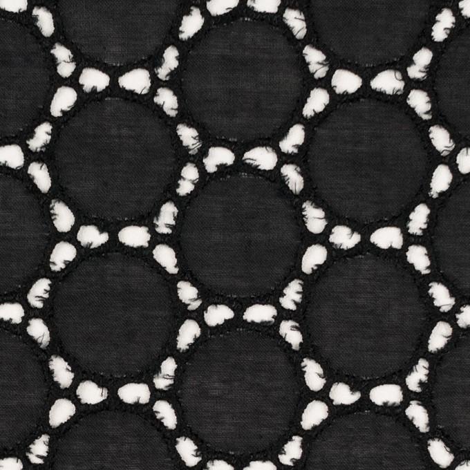 コットン×サークル(ブラック)×ローン刺繍 イメージ1