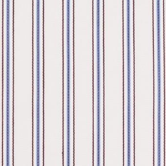 コットン×ストライプ(オフホワイト、サックス&ブラウン)×ドビーブロード サムネイル1