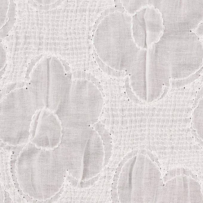 コットン×フラワー(オフホワイト)×ボイルシャーリング刺繍 イメージ1