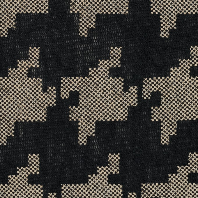 コットン×千鳥格子(ブラック&ライトカーキ)×チュール_全3色 イメージ1