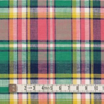 コットン×チェック(サーモンピンク、フォレストグリーン&イエロー)×薄シーチング サムネイル4