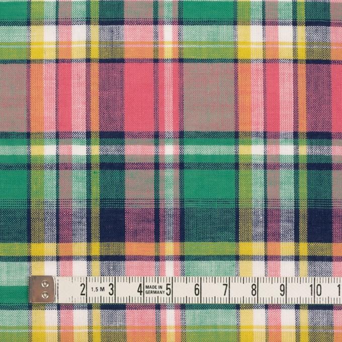 コットン×チェック(サーモンピンク、フォレストグリーン&イエロー)×薄シーチング イメージ4