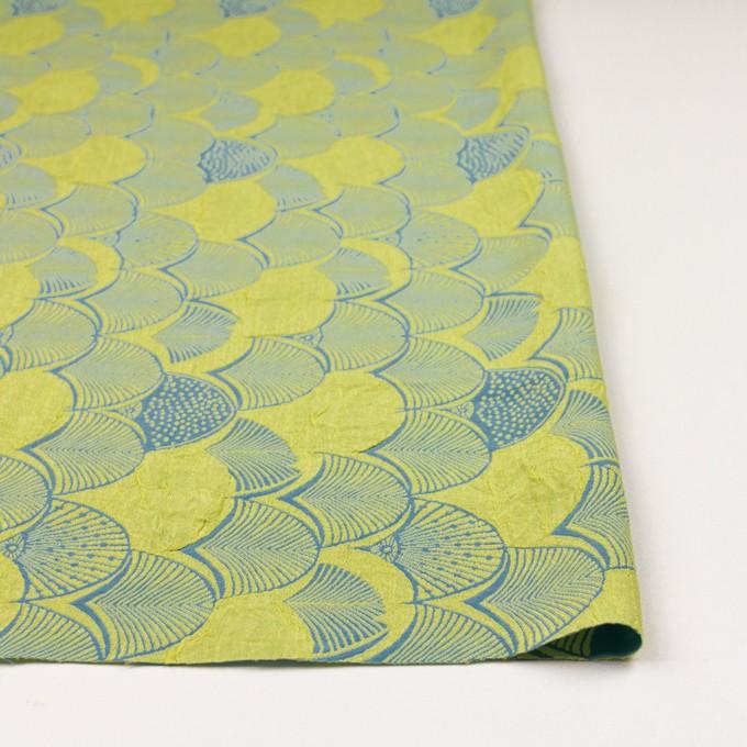レーヨン&アセテート×幾何学模様(レモンイエロー&ブルーグレー)×風通織_全3色 イメージ3