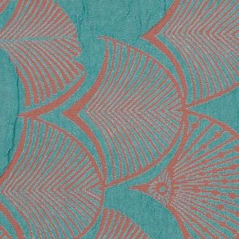 レーヨン&アセテート×幾何学模様(エメラルド&コーラル)×風通織_全3色