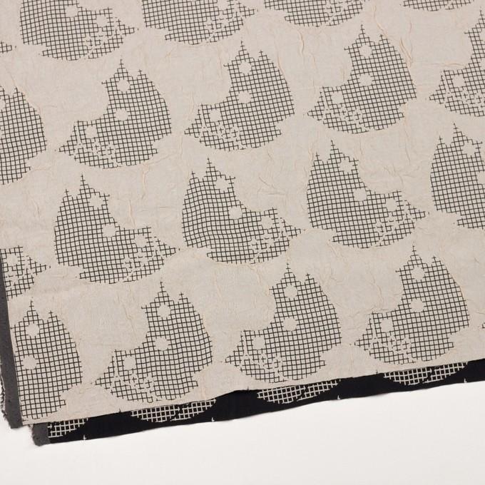 レーヨン&アセテート×幾何学模様(バニラ&ブラック)×風通織 イメージ2