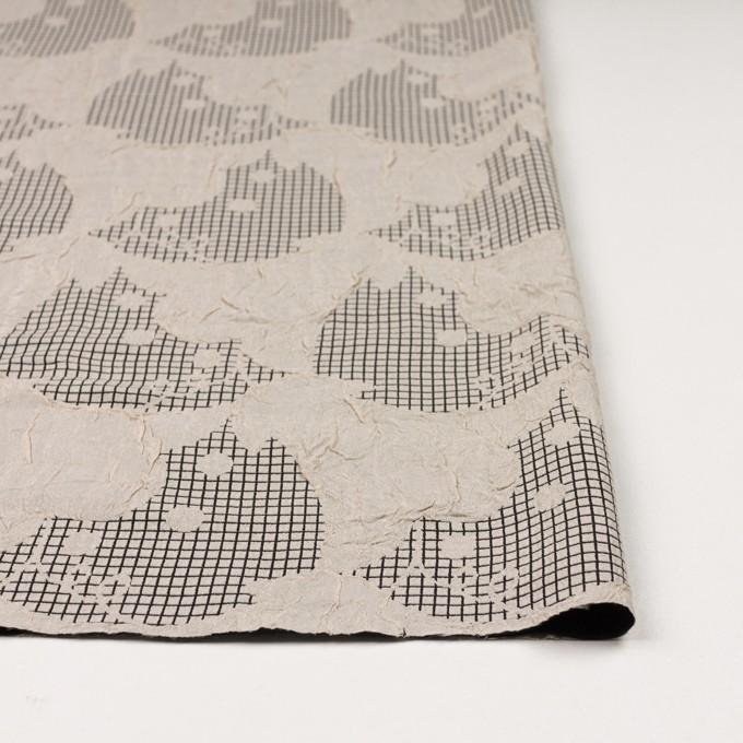 レーヨン&アセテート×幾何学模様(バニラ&ブラック)×風通織 イメージ3